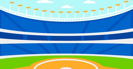 野球スタジアム ベクトル フラット デザイン イラストの背景。水平方向のレイアウト。 ベクターイラストレーション