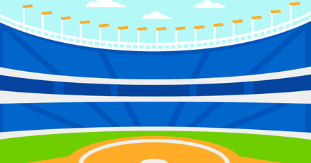 Background of baseball stadium vector flat design illustration. Horizontal layout. Vettoriali