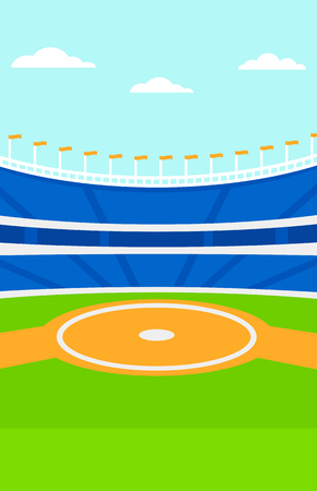 Background of baseball stadium vector flat design illustration. Vertical layout. Vectores