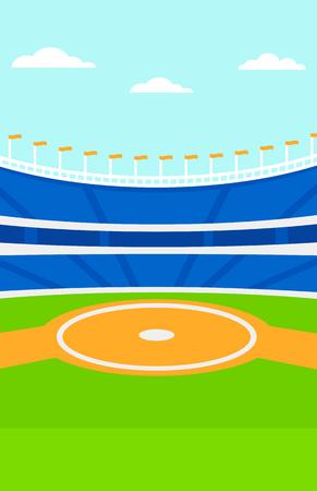 Background of baseball stadium vector flat design illustration. Vertical layout. Иллюстрация