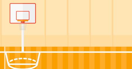 canestro basket: Sfondo di design piatto illustrazione campo da basket vettoriale. layout orizzontale.