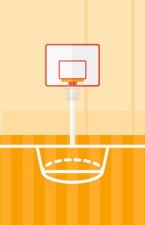 バスケット ボール コート ベクトル フラット デザイン イラストの背景。縦型レイアウト。