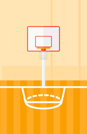 Background of basketball court vector flat design illustration. Vertical layout.