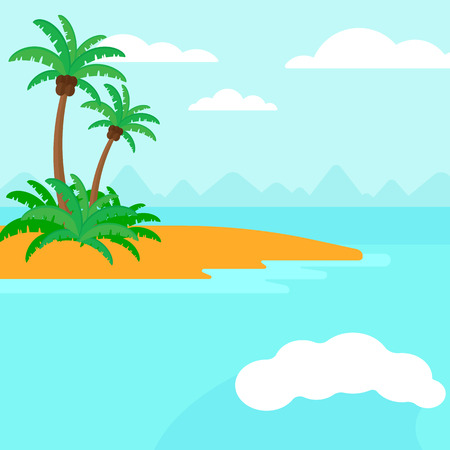islet: Background of small tropical island with palm trees and the ocean vector flat design illustration. Square layout. Illustration