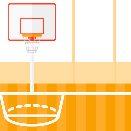 gymnasium: Background of basketball court vector flat design illustration. Square layout. Illustration
