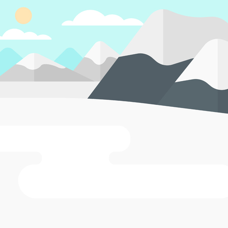 Background of snow capped mountain. vector flat design illustration. Square layout. Çizim