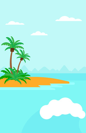 Background of small tropical island with palm trees and the ocean vector flat design illustration. Vertical layout. Illustration