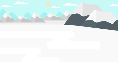 snow capped mountain: Background of snow capped mountain vector flat design illustration. Horizontal layout. Illustration