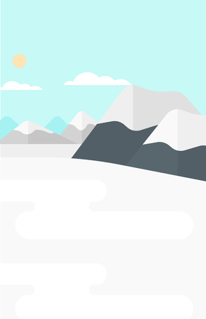scenics: Background of snow capped mountain vector flat design illustration. Vertical layout.