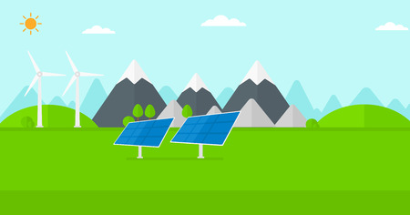 electricity supply: Background of solar panels and wind turbines in mountains vector flat design illustration. Horizontal layout.
