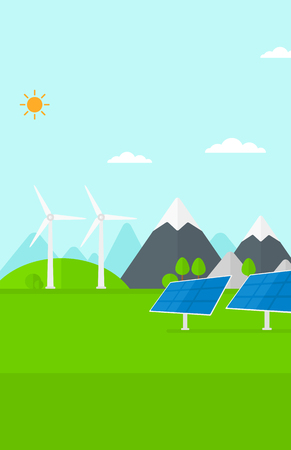 Background of solar panels and wind turbines in mountains vector flat design illustration. Vertical layout. Vettoriali