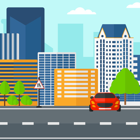 city scene: Background of modern city with a car on a road vector  vector flat design illustration. Square layout.