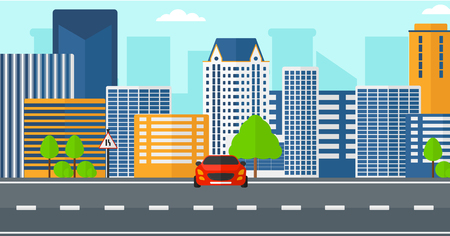 Background of modern city with a car on a road vector  flat design illustration. Horizontal layout.