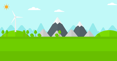 spinning windmill: Background of mountains with wind turbine vector flat design illustration. Horizontal layout.