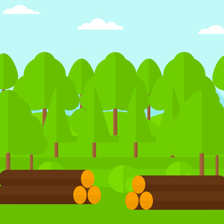 Background of the forest with piles of logs vector flat design illustration. Square layout.