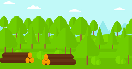 Background of the forest with piles of logs vector flat design illustration. Horizontal layout. Vettoriali