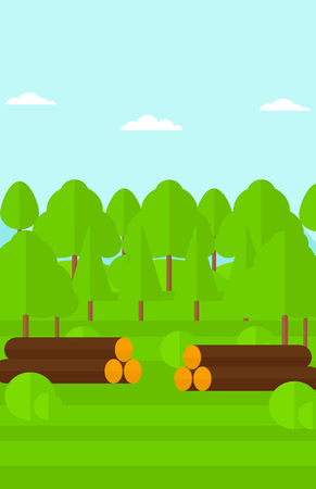 sliced tree: Background of the forest with piles of logs vector flat design illustration. Vertical layout. Illustration