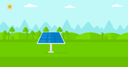 photocell: Background of mountains with solar panel vector flat design illustration. Horizontal layout.