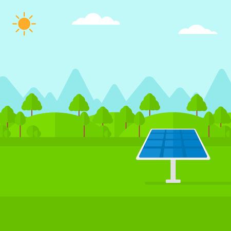 energia solar: Antecedentes de montañas con el panel solar de vector diseño plano. de planta cuadrada. Vectores