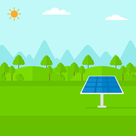 energy grid: Background of mountains with solar panel vector flat design illustration. Square layout.