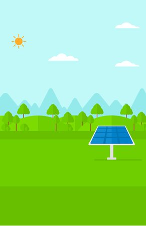 photocell: Background of mountains with solar panel vector flat design illustration. Vertical layout.
