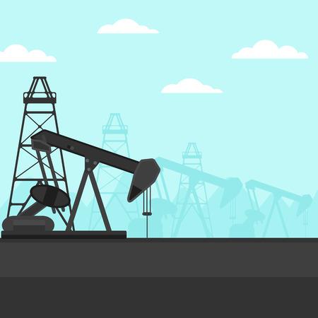 Background of oil derrick vector flat design illustration. Square layout.
