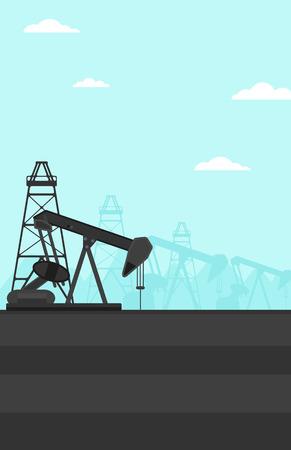 Background of oil derrick vector flat design illustration. Vertical layout.  イラスト・ベクター素材