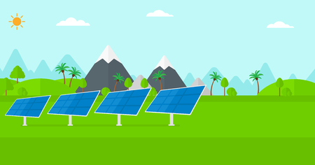 solar power station: Background of solar power station in the mountain vector flat design illustration. Horizontal layout.