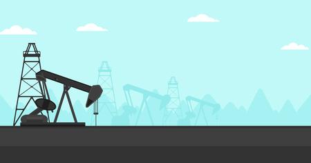 derrick: Background of oil derrick vector flat design illustration. Horizontal layout.