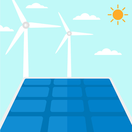 paneles solares: Antecedentes de paneles solares y turbinas de viento contra el cielo azul ilustración vectorial diseño plano. de planta cuadrada. Vectores