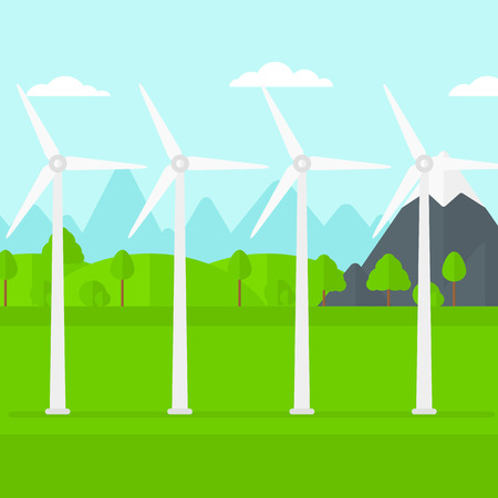 spinning windmill: Background of wind turbines in mountains vector flat design illustration. Square layout.