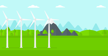 spinning windmill: Background of wind turbines in mountains vector flat design illustration. Horizontal layout. Illustration
