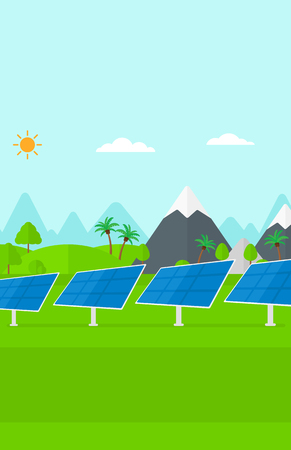 photocell: Background of solar power station in the mountain vector flat design illustration. Vertical layout.