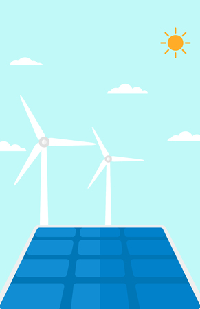 panels: Background of solar panels and wind turbines against blue sky vector flat design illustration. Vertical layout. Illustration