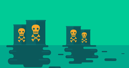 Background of polluted water with radioactive barrel  vector flat design illustration. Horizontal layout.