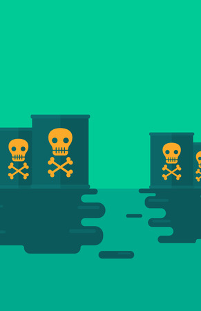 hazardous waste: Background of polluted water with radioactive barrel  vector flat design illustration. Vertical layout. Illustration