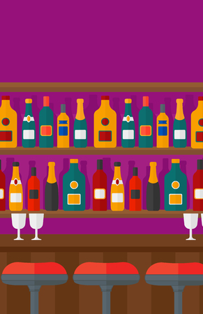 Background of bar counter with stools and alcohol drinks on shelves vector flat design illustration. Vertical layout. Illustration
