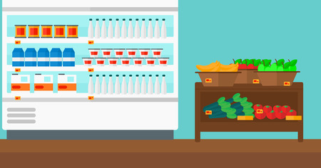 eating fruit: Background of supermarket shelves with products vector flat design illustration. Horizontal layout.