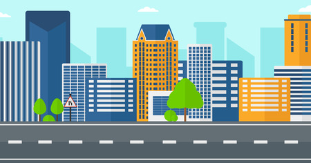 road design: Background of modern city and a road vector flat design illustration. Horizontal layout.