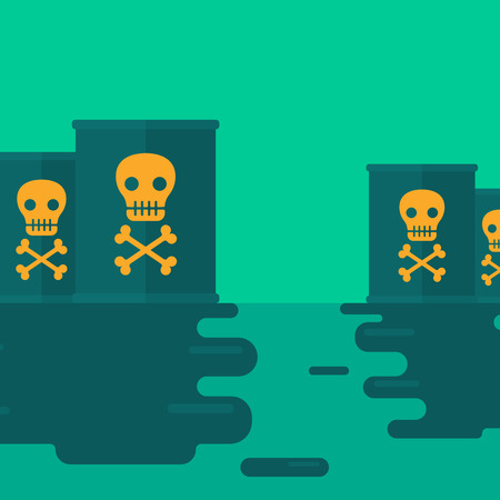 polluted: Background of polluted water with radioactive barrel  vector flat design illustration. Square layout.