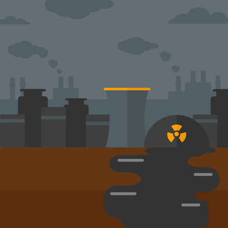 Background of nuclear power plant vector flat design illustration. Square layout. Illustration