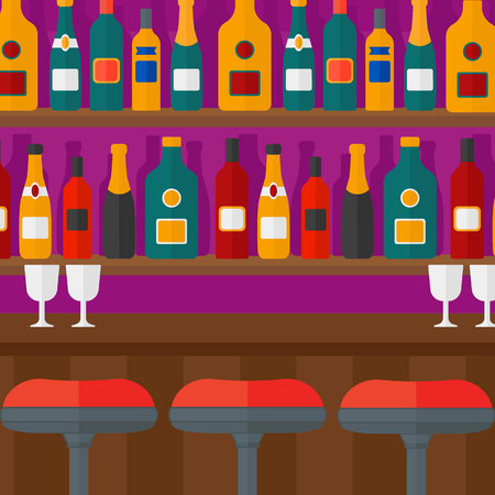 Background of bar counter with stools and alcohol drinks on shelves vector flat design illustration. Square layout.