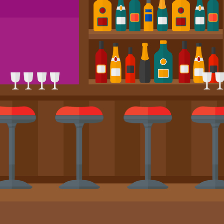 wine bottles: Background of bar counter with stools and alcohol drinks on shelves vector flat design illustration. Square layout.