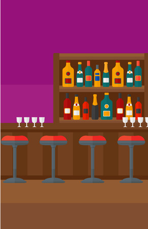 wine bottles: Background of bar counter with stools and alcohol drinks on shelves vector flat design illustration. Vertical layout. Illustration