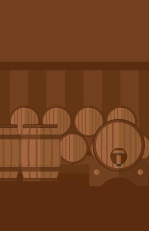 Background of wine barrels in cellar vector flat design illustration. Vertical layout. Illustration