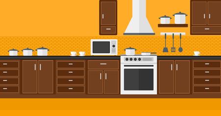 kitchen cartoon: Antecedentes de la cocina con electrodom�sticos de vector Ilustraci�n dise�o plano. disposici�n horizontal. Vectores