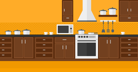 domestic kitchen: Background of kitchen with appliances vector flat design illustration. Horizontal layout.