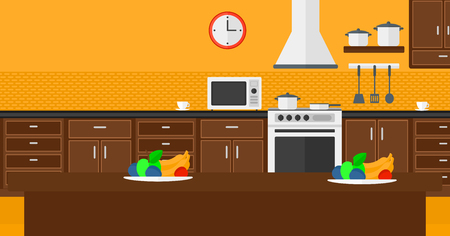 Background of kitchen with appliances vector flat design illustration. Horizontal layout.