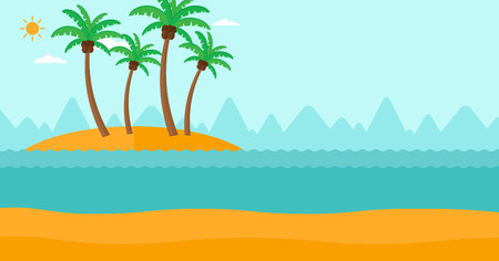 Background of small tropical island with palm trees and the ocean vector flat design illustration. Horizontal layout. Illustration
