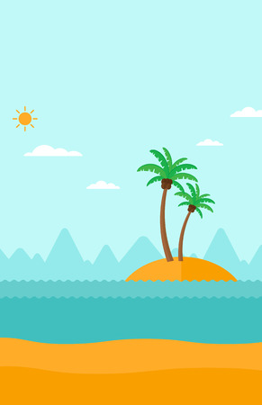 uninhabited: Background of small tropical island with palm trees and the ocean vector flat design illustration. Vertical layout. Illustration